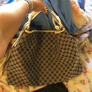 Gucci blue and white large horsebit bag